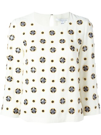 blouse geometric embellished pattern white top
