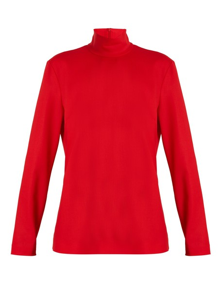 top high wool red
