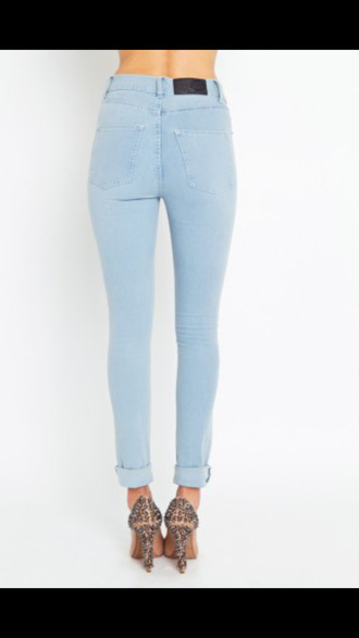 jeans high waisted jeans light blue