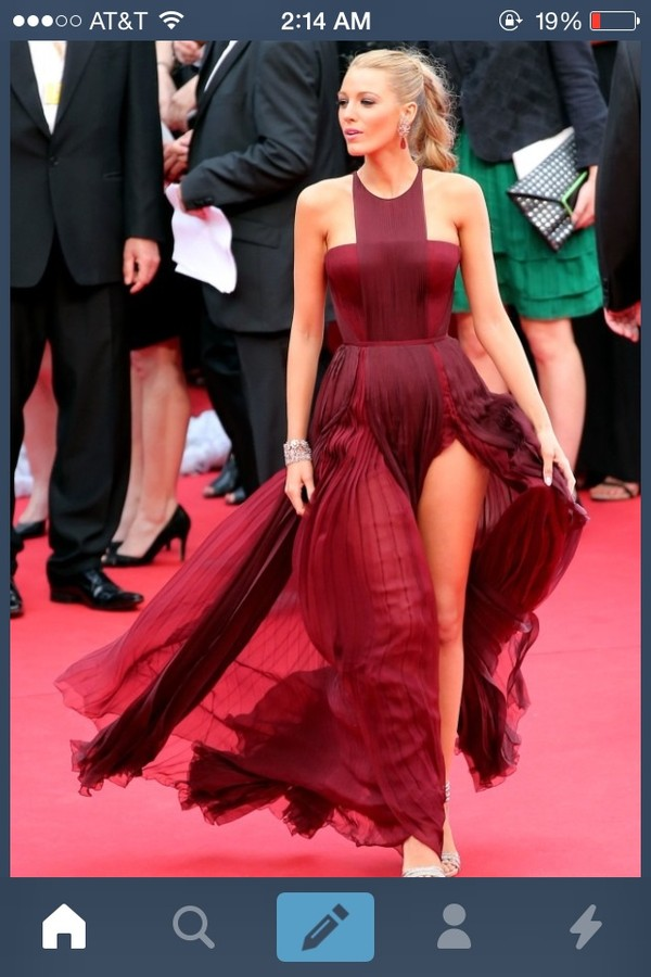dress red burgundy blake lively pretty gown flowy