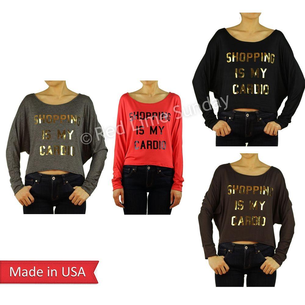 Women shopping is my cardio hi lo dolman long sleeve color tunic top shirt usa