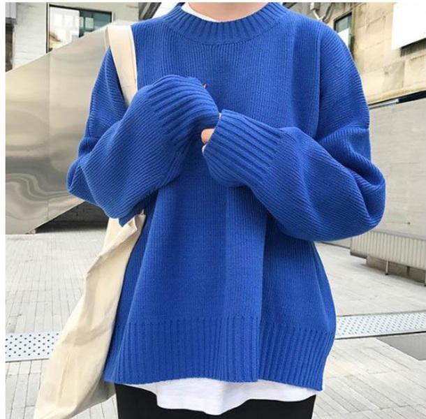 sweater girly knitwear knit knitted sweater blue sweatshirt jumper