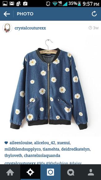 jacket denim jacket daisy