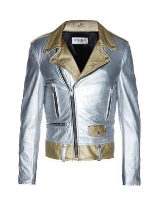 jacket biker jacket metallic leather