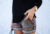 shorts,black,glitter,embroidered,classy,chic,cute,lovely,print,beaded,tribal pattern,dress,ethnic,High waisted shorts,bag,short,shirt,shoes,embellished,clothes,morrocan style,boho,boho chic,marrocan pattern shorts,summer,hot pants,colorful