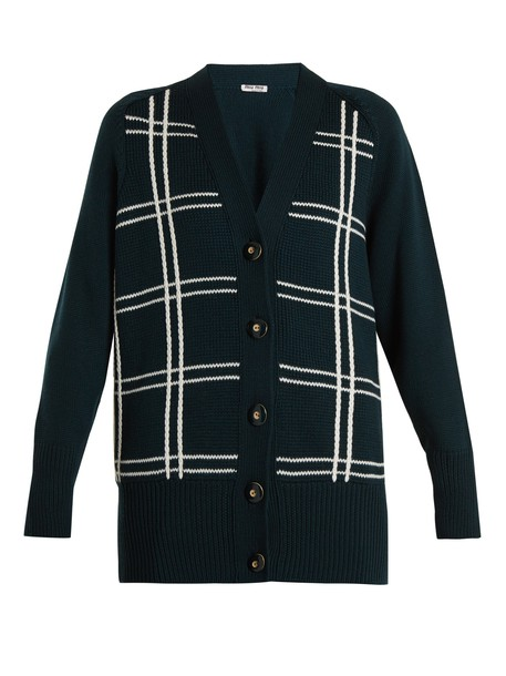 Miu Miu cardigan cardigan embroidered braid wool dark green sweater