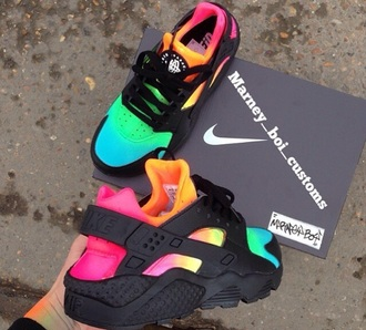 shoes nike black colorful pink yellow huarache nike shoes multicolor colorful nikes low top sneakers