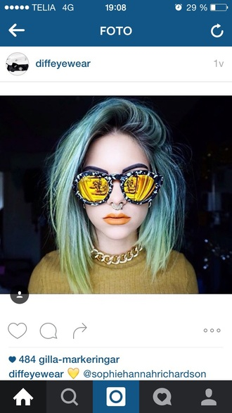 sunglasses glasses yellow glasses cool grunge