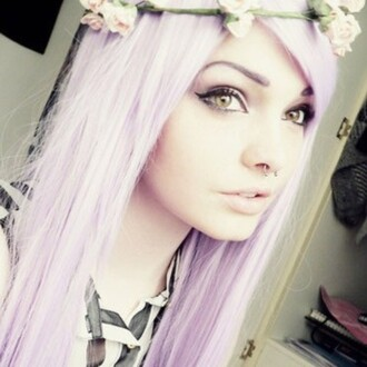 hair accessory nose ring light pink hair pretty make-up pastel colors pastel goth hoodie cute
