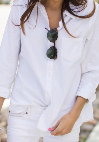 sunglasses white shirt tan tortoise