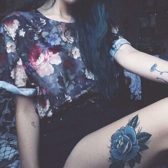 blouse flowers grunge gray rose roses shirt