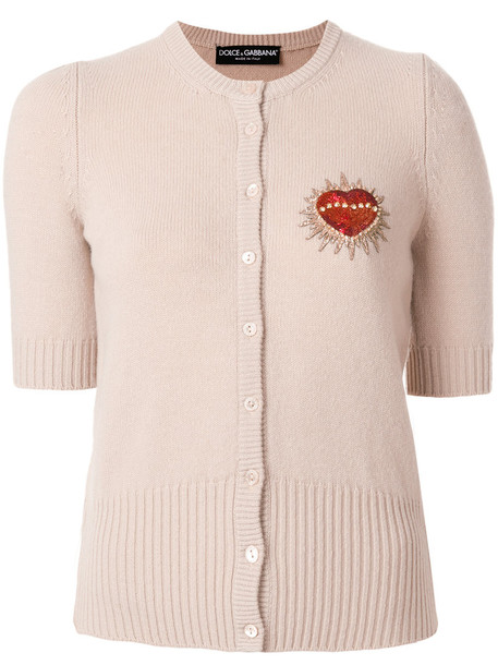 Dolce & Gabbana - heart patch cardigan - women - Polyester/Brass/Virgin Wool/glass - 38, Pink/Purple, Polyester/Brass/Virgin Wool/glass