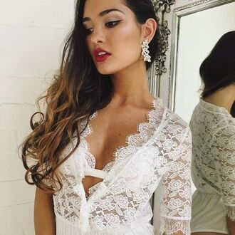 top body bodysuit bodycon lace floral white white top summer indie boho bohemian grunge vintage cute grungetumblr grnge tumblr