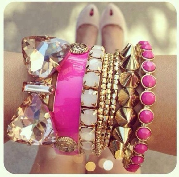 glitter pink jewels gold