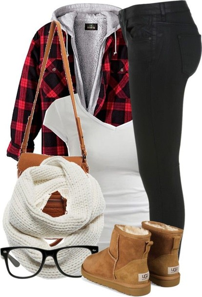 jacket scarf flannel shirt scarf accessories ugg boots