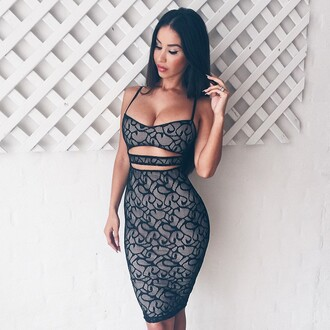 dress two-piece lace cut-out dress black lace dress hourglass sexy dress bodycon dress