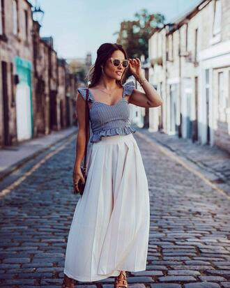 top tumblr blue top ruffle pants white pants wide-leg pants summer outfits vacation outfits sunglasses