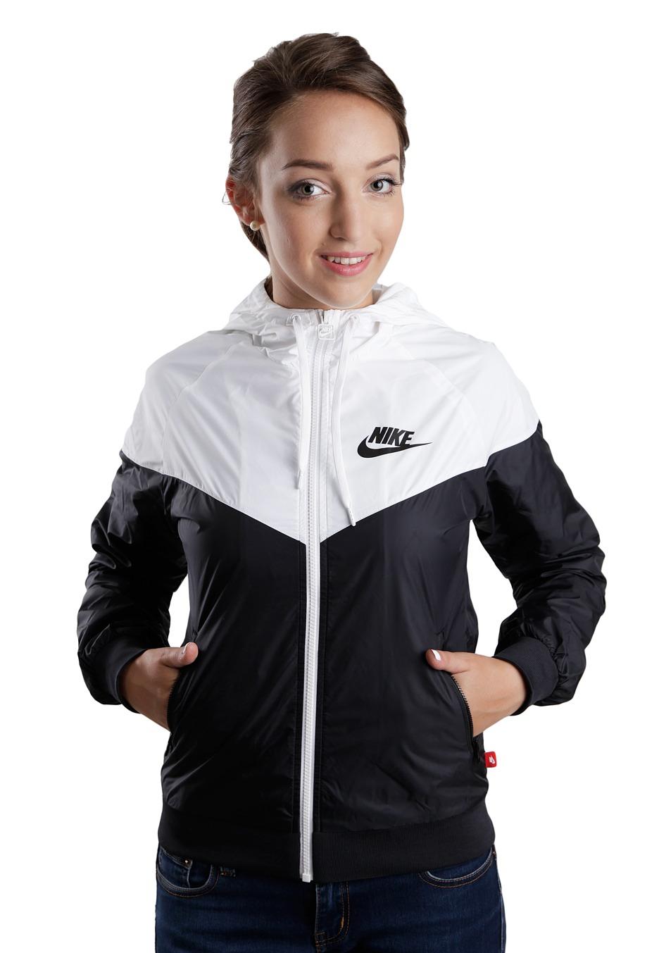 29dd7b4fba5 Nike - The Windrunner Black/White/Black - Dames jas