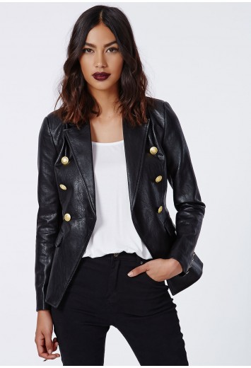 Missguided - Bettie Faux Leather Blazer Black