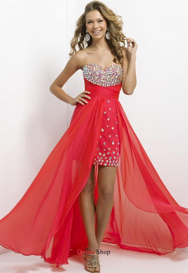 High Low Sweetheart Beadings Chiffon Satin Prom Dress PD11688