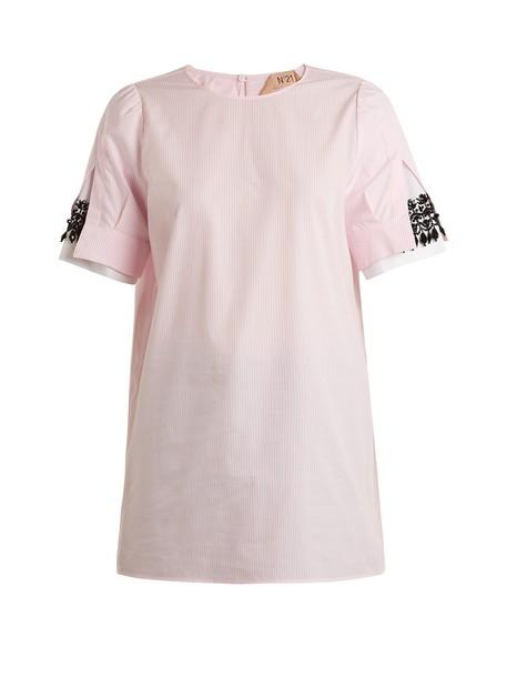 No. 21 shirt embellished cotton white pink top