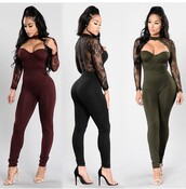 jumpsuit,outfit,outfit idea,summer outfits,cute outfits,spring outfits,date outfit,party outfits,trendy,fashion,stylish,style,clubwear,one piece,jumper,bodycon jumpsuit,olive green,burgundy,black jumpsuit,sexy jumpsuit,long sleeves,long sleeve romper,romper,lace romper,black romper,cute rompers,shoes,black shoes,sexy shoes,party shoes,summer shoes,cute shoes,pumps,high heel pumps,heels,high heels,black heels,nude heels,cute high heels,black high heels,nude high heels,ankle strap heels,black,green jumpsuit,green,lace,sexy,sexy outfit,new year's eve,classy,cute,girly,wedding clothes,wedding guest