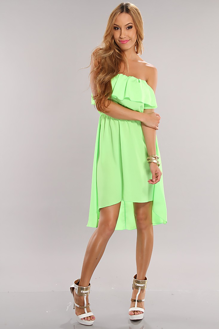 Green Sexy Ruffle Top High Low Hem Dress @ Amiclubwear sexy ...