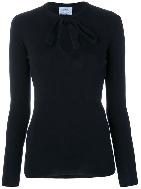Prada top knitted top women tie front blue silk