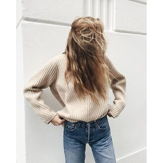 sweater tumblr beige sweater denim jeans blue jeans fall outfits fall sweater