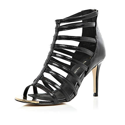 Gladiator Sandals Heels Black  Tsaa Heel