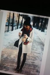 jacket,brown pinterest,scarf,warm,flannel scarf,pom pom beanie,black jeans,coat,hat,fall outfits,black coat,sunglasses,pants,white coats,white long coat,black pompom beanie,plaid,blouse,vest,winter sweater,cold shoulders,cozy,white,scarvesc,cream,winter outfits,cute,winter coat,wool coat