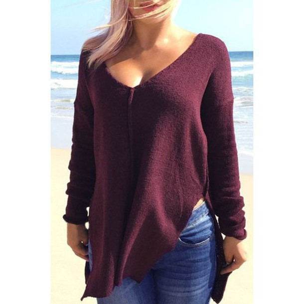 Sweater purple long sleeves burgundy knitwear stylish for Burgundy long sleeve t shirt womens