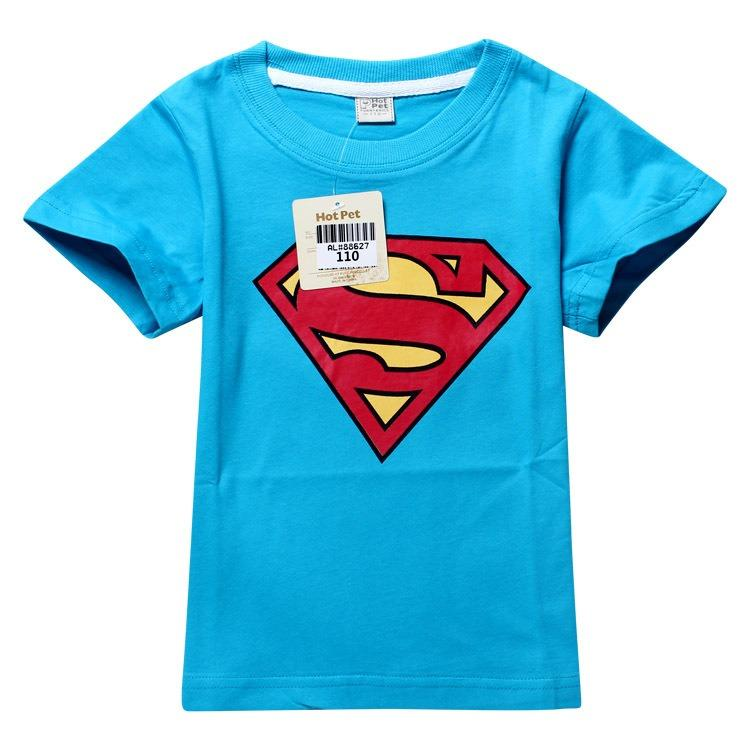 Toddler Boys Superman Kids Short Slevee Cotton Top Blue T Shirt 2 8 | eBay