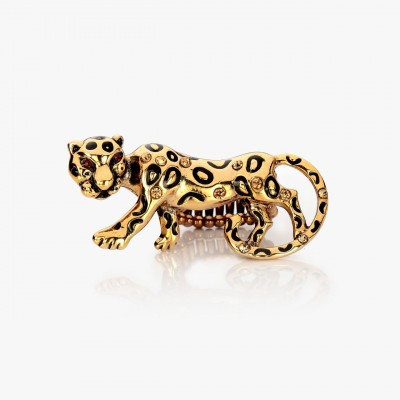 Leopard Stretch Ring Gold Plated Rhinestone Leopard Cocktail Ring