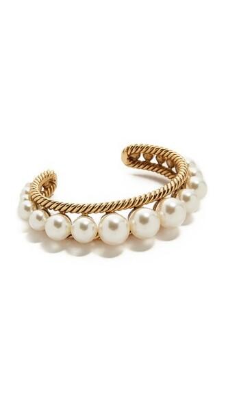cuff pearl cuff bracelet gold cream jewels