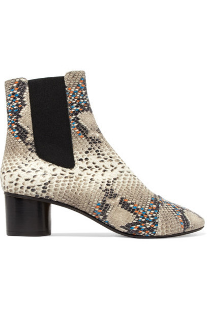 Isabel Marant leather ankle boots snake python ankle boots leather print snake print shoes