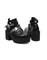 Chunky black leather boots shoes platform heels celebrity celeb