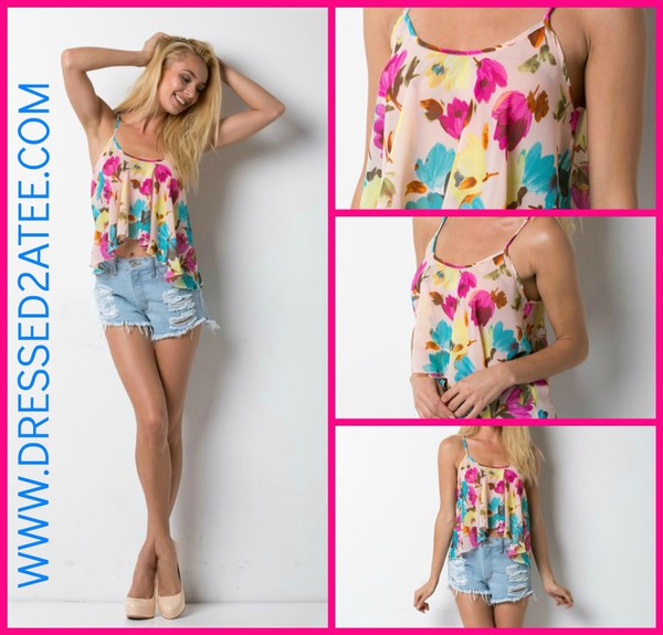 blouse cute nude floral tank top tank top t-shirt summer outfits crush clothes crop tops hot style tumblr tumblr girl fashion top colorful girly girl cool girl style jeans beautiful lovely