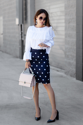 fit fab fun mom blogger top skirt shoes bag sunglasses jewels bell sleeves pumps pencil skirt blue skirt
