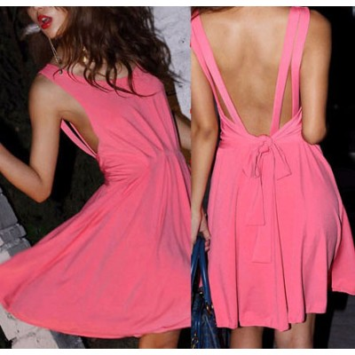 Open back bow belted  women's dress