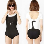 tank top,jumpsuit,cat one piece leotard bathing suit onesie kitty,cats,white,black,cute,bodysuit,underwear,shirt