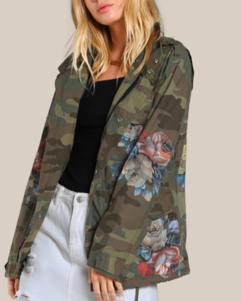 jacket embroidered girly camouflage camo jacket floral