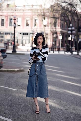 le fashion image blogger sunglasses top bag skirt
