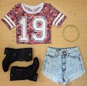 t-shirt,shirt,shorts,crop tops,19,jersey tee shirt,flowers,floral tshirt,blouse,colorful,jersey,skirt