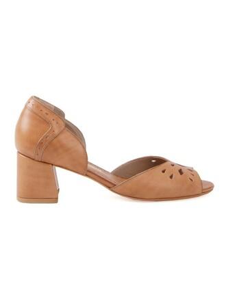 heel chunky heel women pumps brown shoes