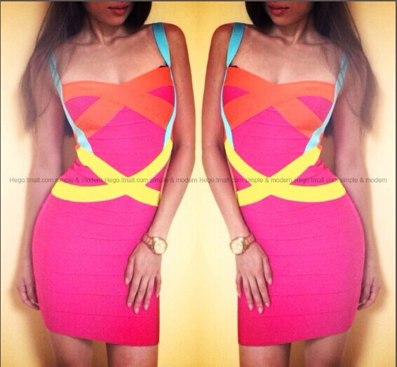 Aliexpress.com : Buy Promotion!2014 Hot Summer Women 100% Rayon Rainbow Stripes Sexy Patchwork Pink Cocktail Dress Strap Evening Bandage Dress HL047 from Reliable dress up girls dresses suppliers on Lady Go Fashion Shop