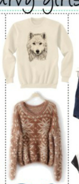 sweater wolf sweatshirt oversized sweater tribal pattern