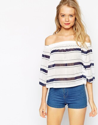 blouse asos stripes striped pretty girl fashion fashion blogger shorts hot pans blonde hair ootd casual chic striped blouse