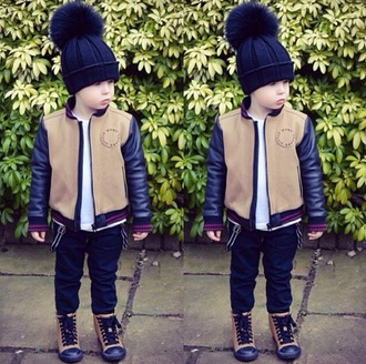 hat leather fuzzy hat beanie beanies fuzzball cute jacket leather sleeves leather sleeve jacket leather jacket jeans black jeans beige jacket beige shoes beige coat beige sneakers fall jacket fall outfits fall trend swag style fashion kids fashion faux leather jumpsuit home accessory coat