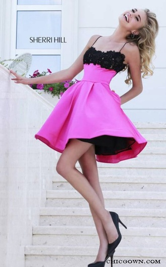 dress black dress pink dress summer black pink style trendy clothes pretty girly beautiful fashion new york high heels shoes black shoes black high heels mini dress sherri hill summer dress